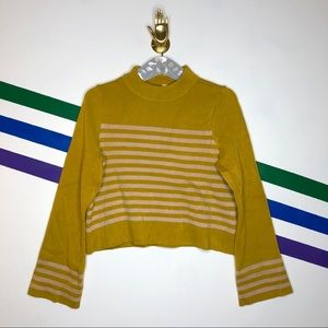 NEW MOTH Striped mock neck sweater